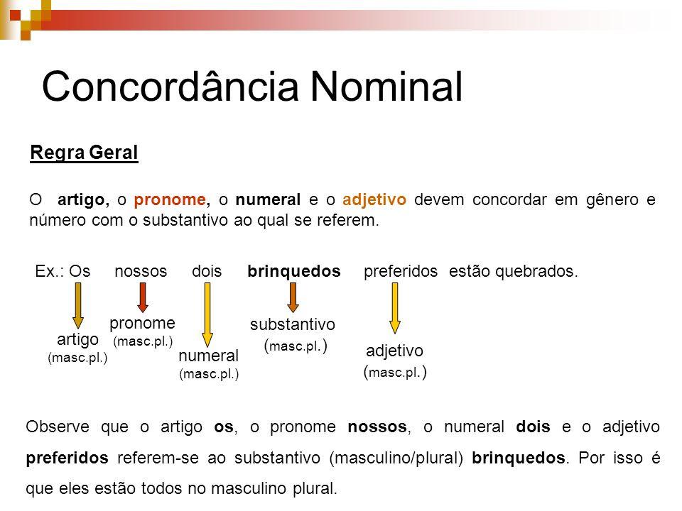 Concordância Nominal Regra Geral O artigo, o pronome, o numeral e o adjetivo devem concordar em gênero e número com o substantivo ao qual se referem.