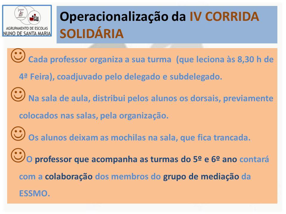 Operacionalização da IV CORRIDA SOLIDÁRIA Cada professor organiza a sua turma (que leciona às 8,30 h de 4ª Feira), coadjuvado pelo delegado e subdelegado.