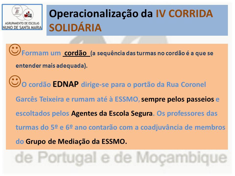 Operacionalização da IV CORRIDA SOLIDÁRIA Formam um cordão (a sequência das turmas no cordão é a que se entender mais adequada).