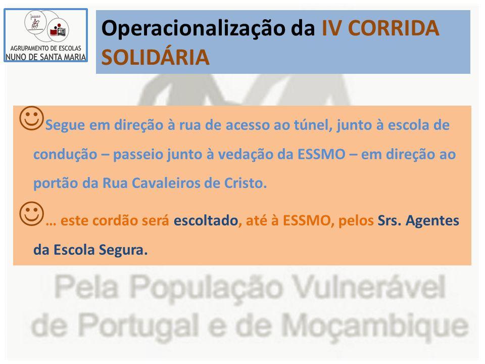 Operacionalização da IV CORRIDA SOLIDÁRIA Segue em direção à rua de acesso ao túnel, junto à escola de condução – passeio junto à vedação da ESSMO – e