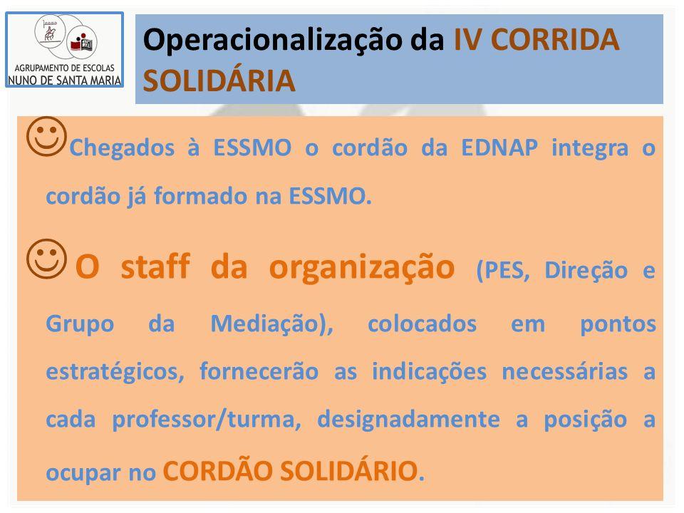 Operacionalização da IV CORRIDA SOLIDÁRIA Chegados à ESSMO o cordão da EDNAP integra o cordão já formado na ESSMO. O staff da organização (PES, Direçã