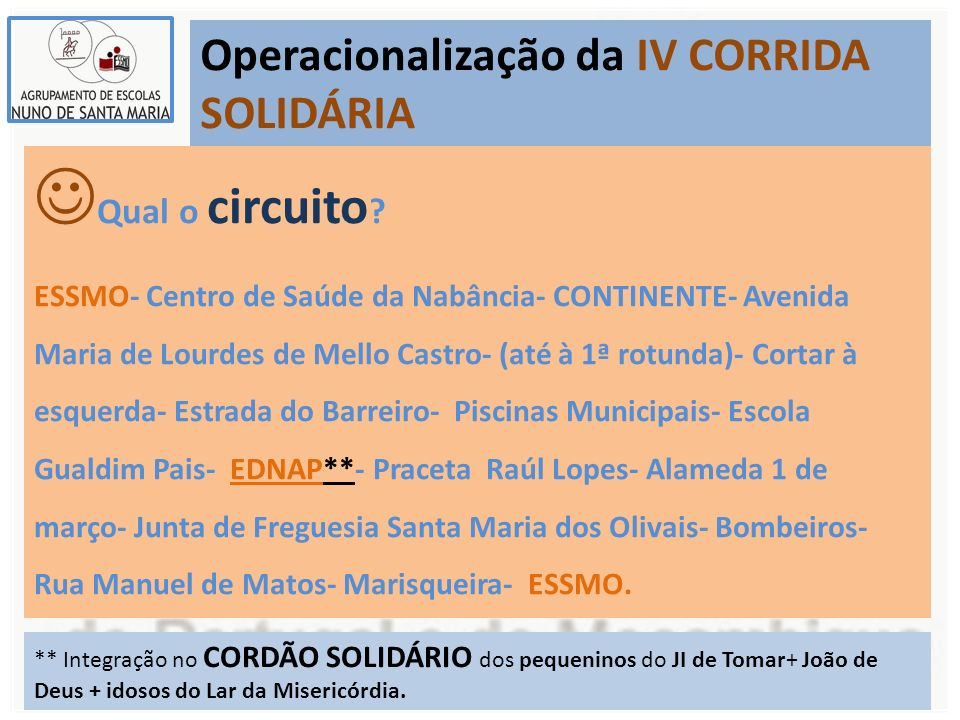 Operacionalização da IV CORRIDA SOLIDÁRIA Qual o circuito ? ESSMO- Centro de Saúde da Nabância- CONTINENTE- Avenida Maria de Lourdes de Mello Castro-