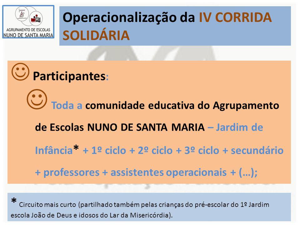 Operacionalização da IV CORRIDA SOLIDÁRIA Participantes : Toda a comunidade educativa do Agrupamento de Escolas NUNO DE SANTA MARIA – Jardim de Infânc