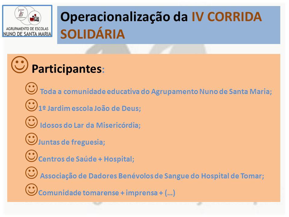 Operacionalização da IV CORRIDA SOLIDÁRIA Participantes : Toda a comunidade educativa do Agrupamento Nuno de Santa Maria; 1º Jardim escola João de Deu