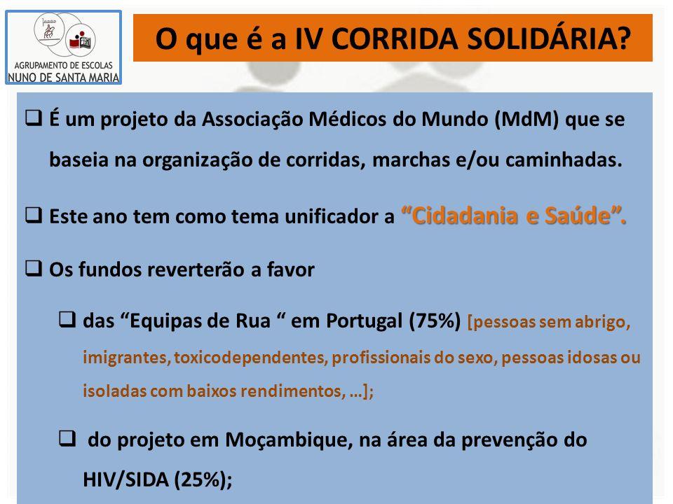O que é a IV CORRIDA SOLIDÁRIA? É um projeto da Associação Médicos do Mundo (MdM) que se baseia na organização de corridas, marchas e/ou caminhadas. C
