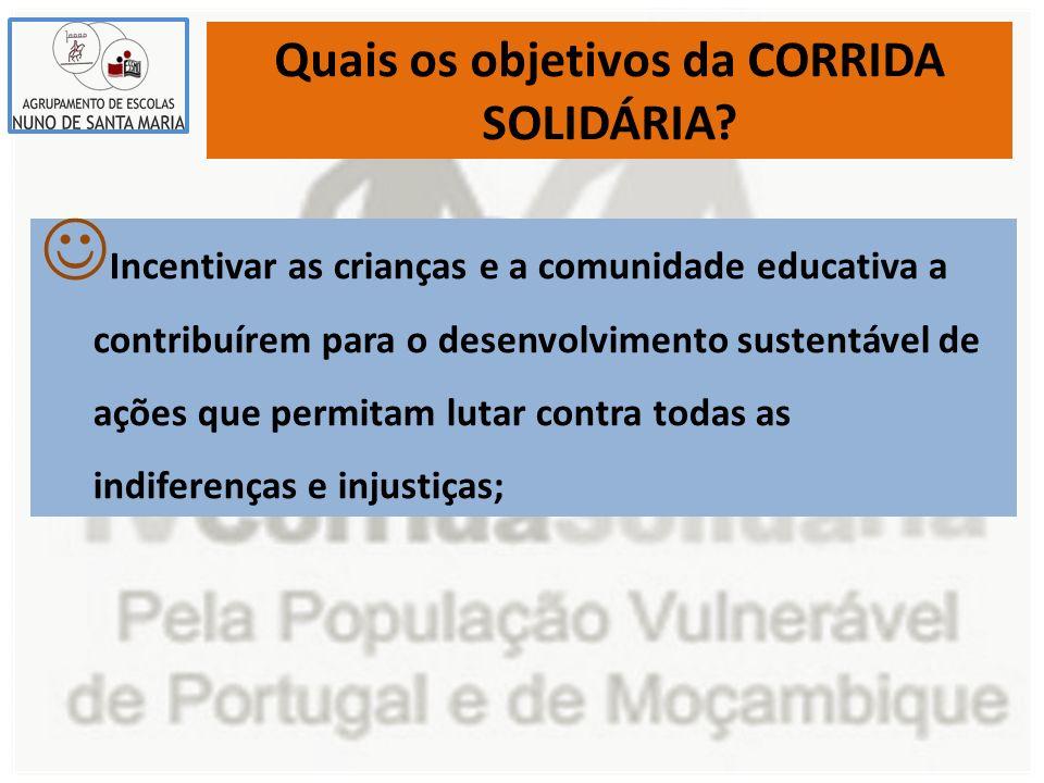 Quais os objetivos da CORRIDA SOLIDÁRIA? Incentivar as crianças e a comunidade educativa a contribuírem para o desenvolvimento sustentável de ações qu