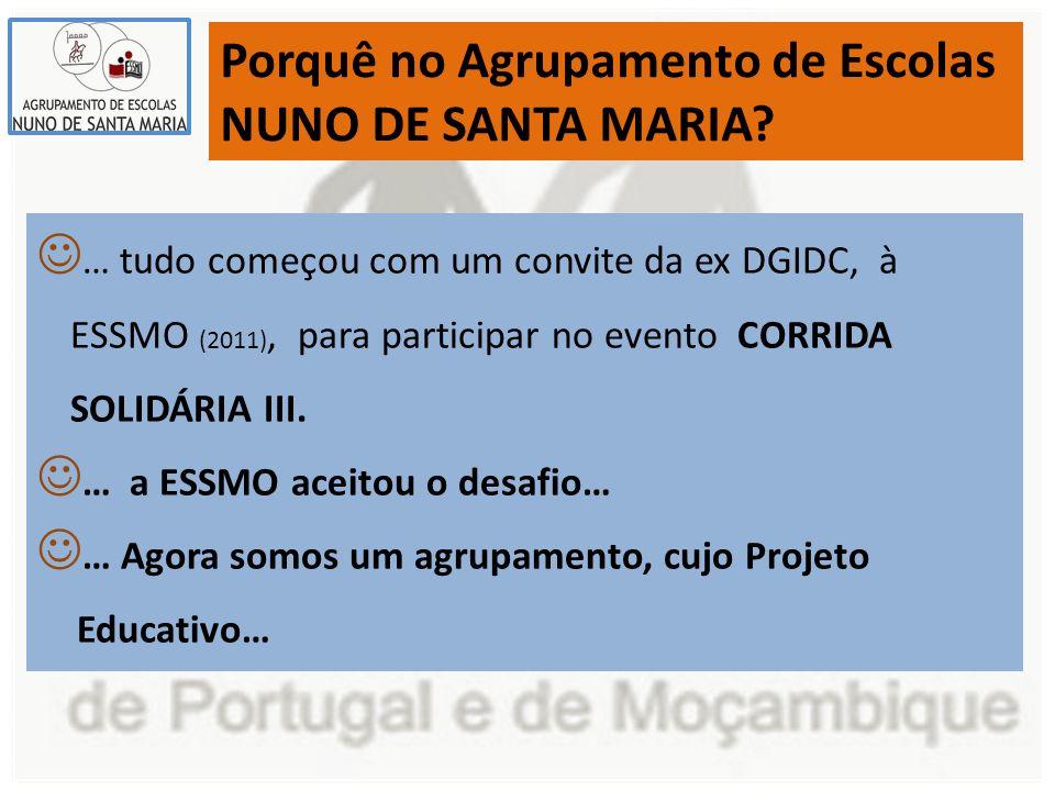 Porquê no Agrupamento de Escolas NUNO DE SANTA MARIA? … tudo começou com um convite da ex DGIDC, à ESSMO (2011), para participar no evento CORRIDA SOL