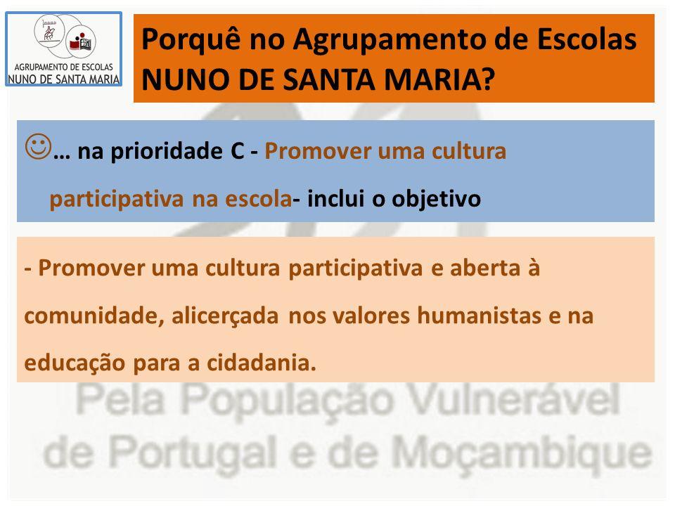 Porquê no Agrupamento de Escolas NUNO DE SANTA MARIA.