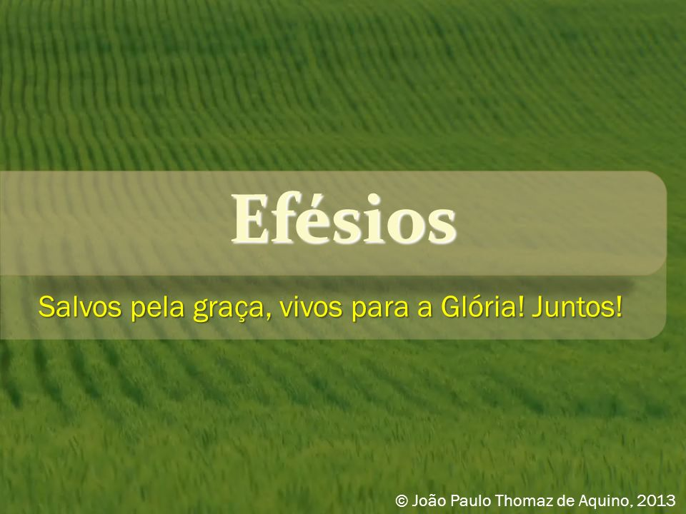 Efésios Salvos pela graça, vivos para a Glória! Juntos! © João Paulo Thomaz de Aquino, 2013