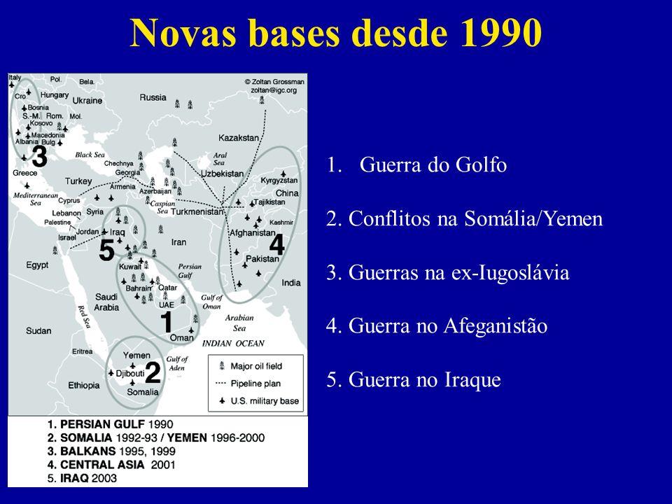 Novas bases desde 1990 1.Guerra do Golfo 2.Conflitos na Somália/Yemen 3.