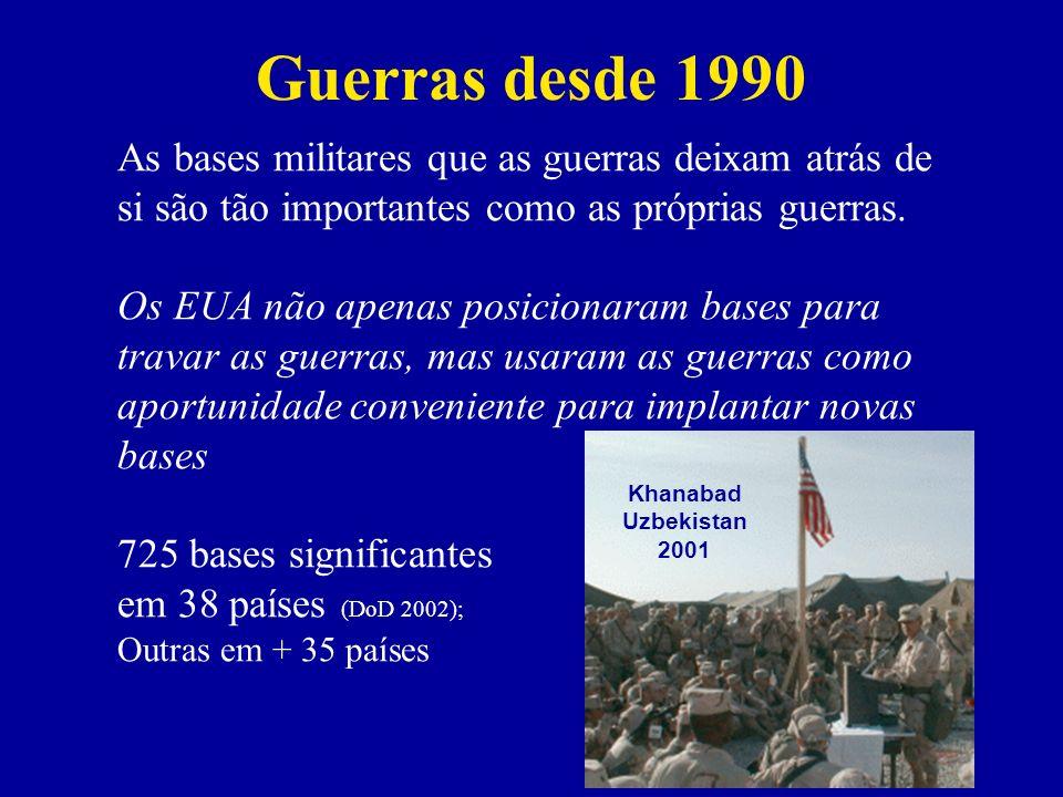 Guerras desde 1990 As bases militares que as guerras deixam atrás de si são tão importantes como as próprias guerras.