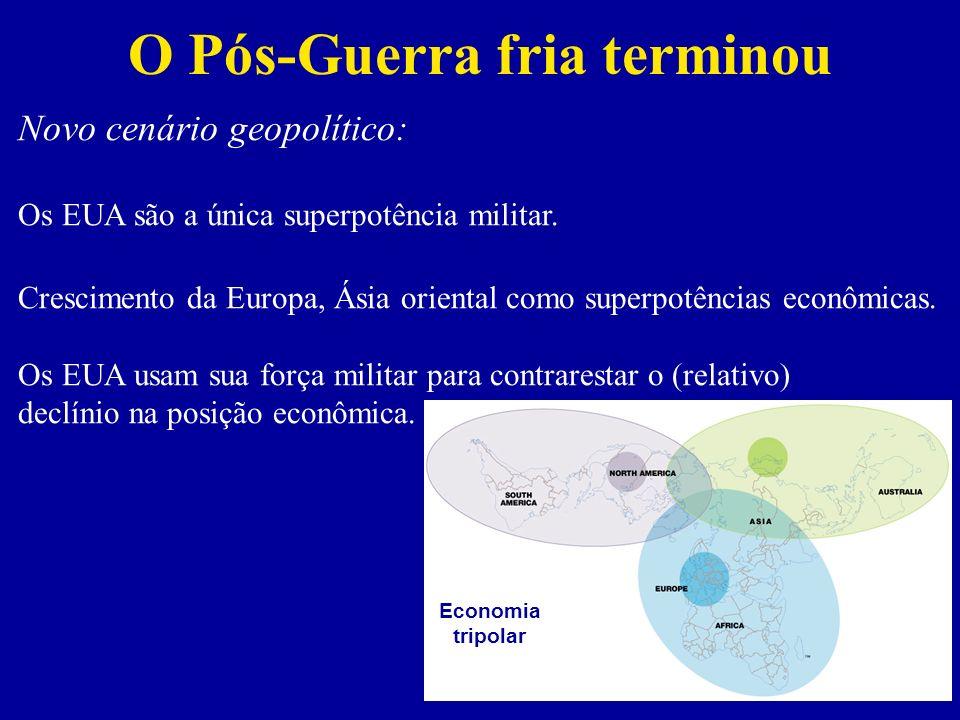 Novos objetivos dos EUA Objetivos de curto prazo são novas bases militares e controle sobre a economia do petróleo.