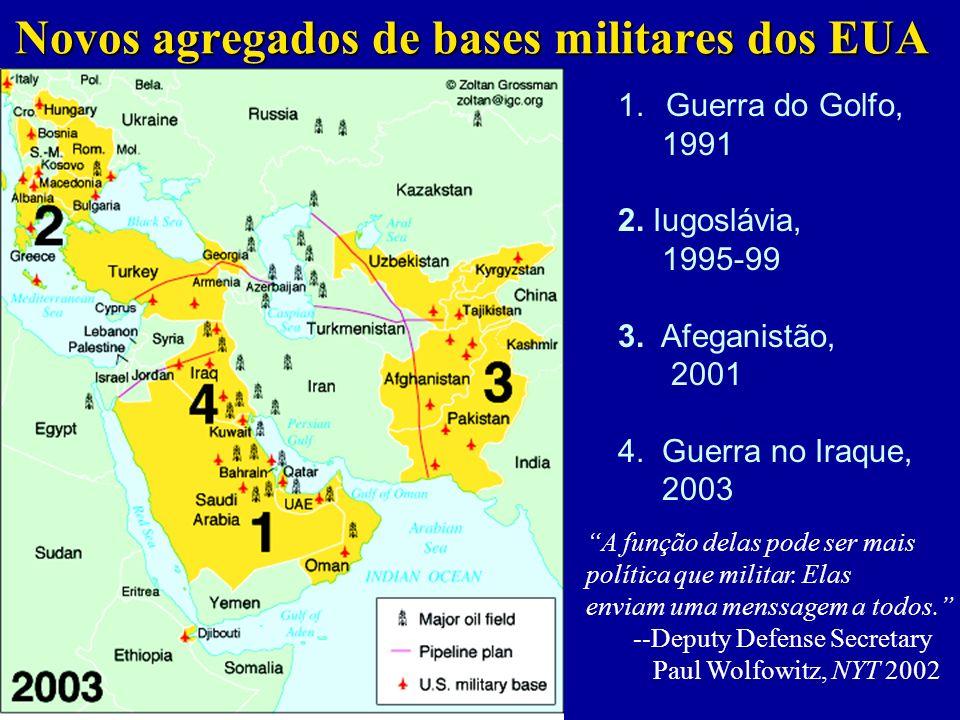 Novos agregados de bases militares dos EUA 1.Guerra do Golfo, 1991 2.