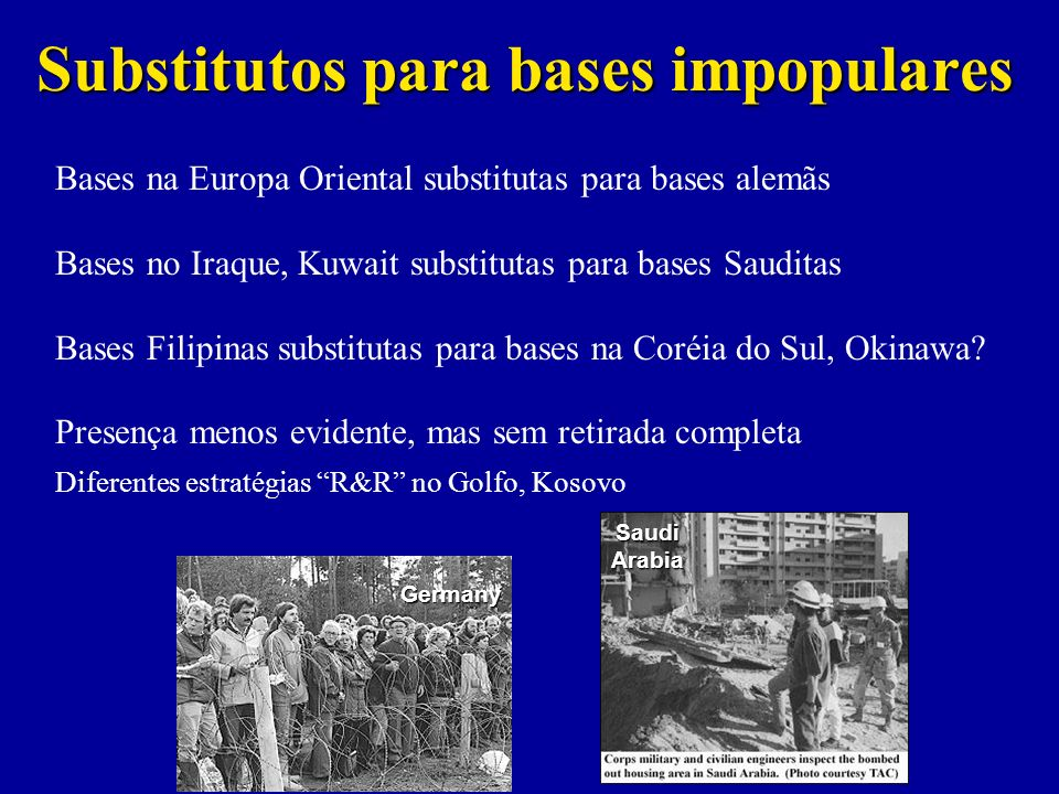 Substitutos para bases impopulares Bases na Europa Oriental substitutas para bases alemãs Bases no Iraque, Kuwait substitutas para bases Sauditas Base