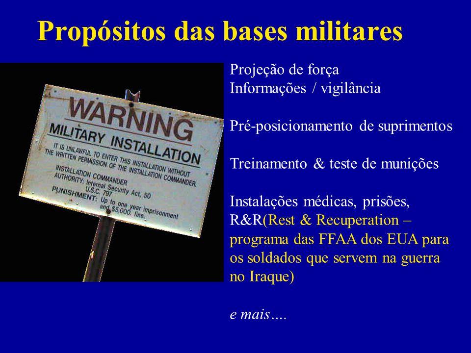 Propósitos das bases militares Projeção de força Informações / vigilância Pré-posicionamento de suprimentos Treinamento & teste de munições Instalações médicas, prisões, R&R(Rest & Recuperation – programa das FFAA dos EUA para os soldados que servem na guerra no Iraque) e mais….