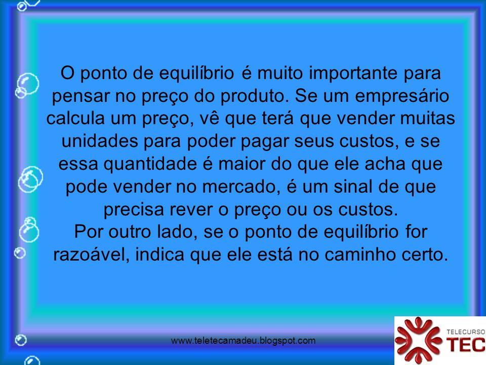www.teletecamadeu.blogspot.com O ponto de equilíbrio é muito importante para pensar no preço do produto. Se um empresário calcula um preço, vê que ter