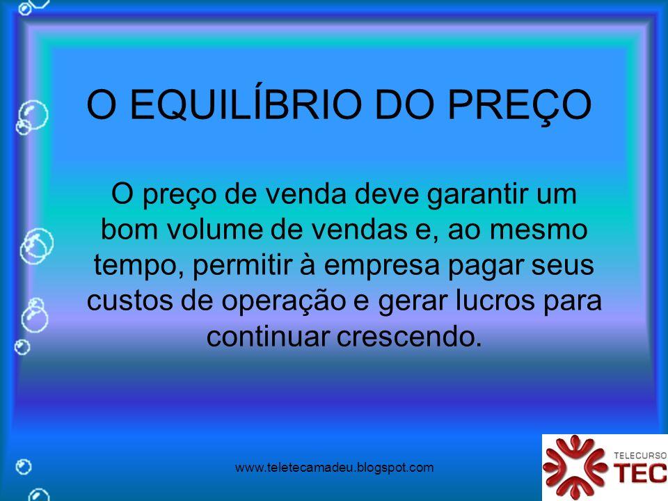 www.teletecamadeu.blogspot.com O EQUILÍBRIO DO PREÇO O preço de venda deve garantir um bom volume de vendas e, ao mesmo tempo, permitir à empresa paga
