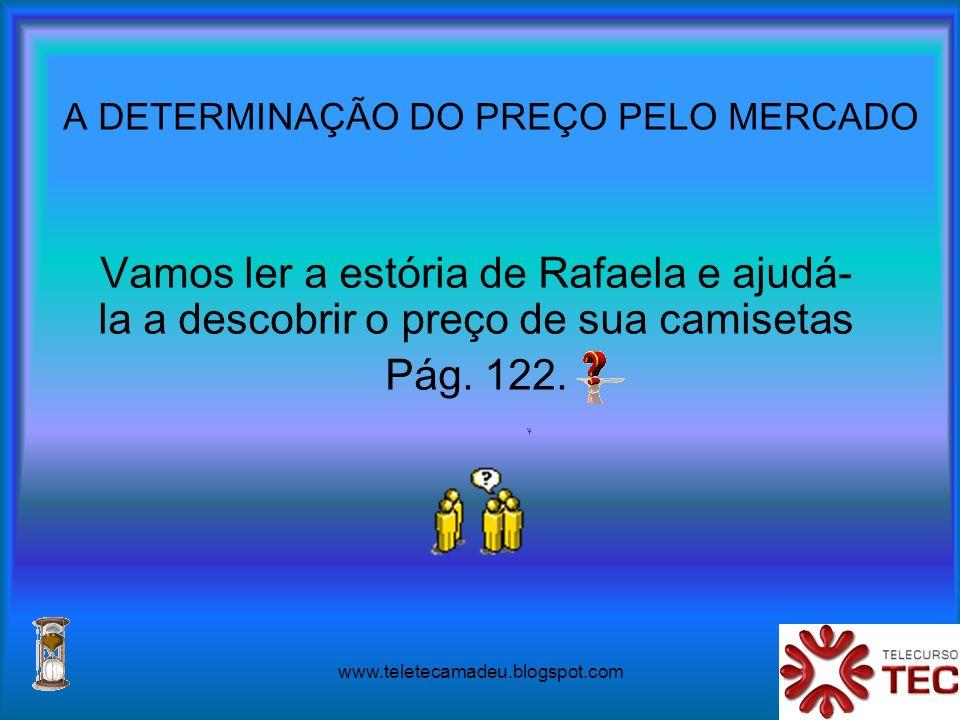 www.teletecamadeu.blogspot.com A DETERMINAÇÃO DO PREÇO PELO MERCADO Vamos ler a estória de Rafaela e ajudá- la a descobrir o preço de sua camisetas Pá