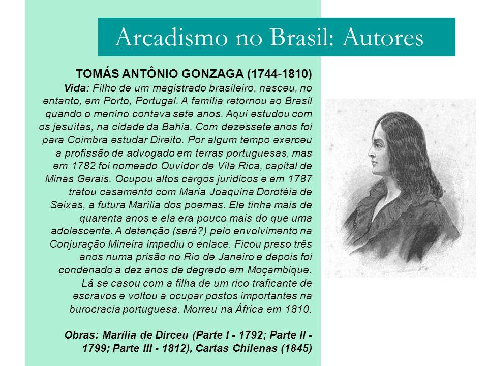 TOMÁS ANTÔNIO GONZAGA (1744-1810) Vida: Filho de um magistrado brasileiro, nasceu, no entanto, em Porto, Portugal. A família retornou ao Brasil quando