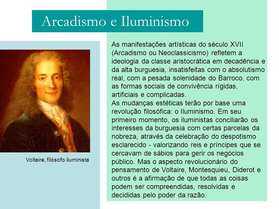 As manifestações artísticas do século XVII (Arcadismo ou Neoclassicismo) refletem a ideologia da classe aristocrática em decadência e da alta burguesi
