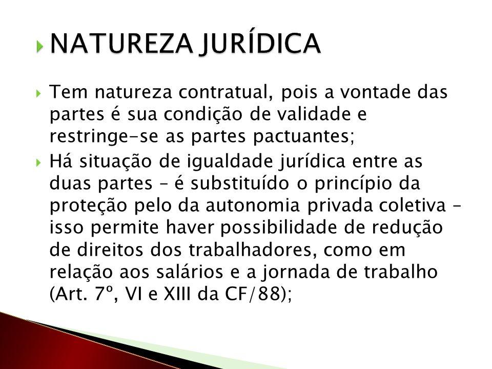 Tem natureza contratual, pois a vontade das partes é sua condição de validade e restringe-se as partes pactuantes; Há situação de igualdade jurídica e