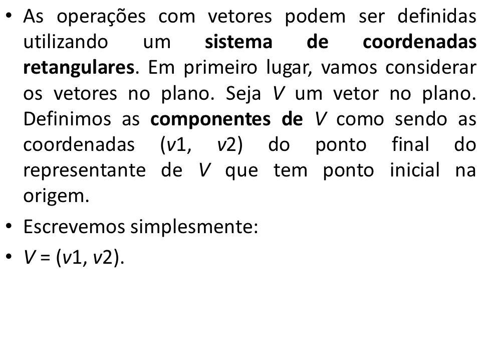 As operações com vetores podem ser definidas utilizando um sistema de coordenadas retangulares. Em primeiro lugar, vamos considerar os vetores no plan