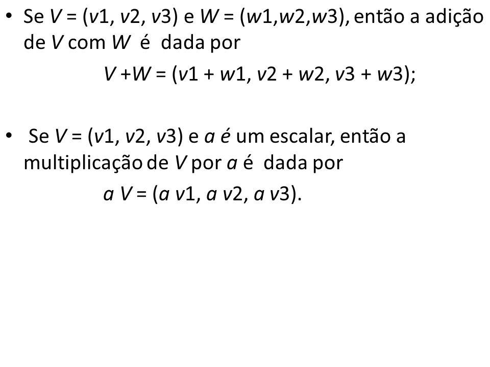 Se V = (v1, v2, v3) e W = (w1,w2,w3), então a adição de V com W é dada por V +W = (v1 + w1, v2 + w2, v3 + w3); Se V = (v1, v2, v3) e a é um escalar, e