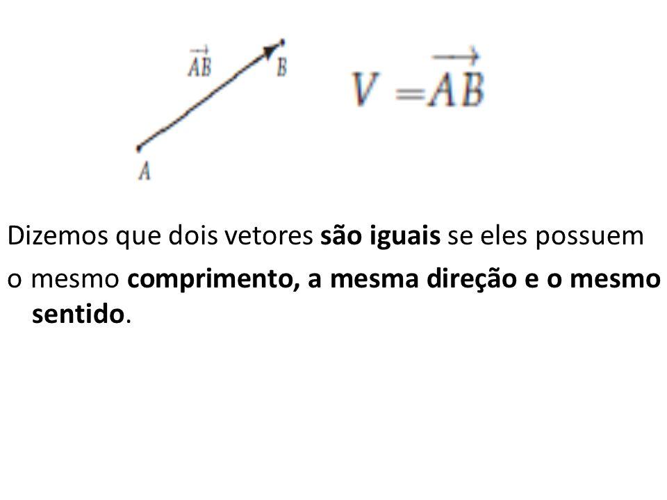 Dizemos que dois vetores são iguais se eles possuem o mesmo comprimento, a mesma direção e o mesmo sentido.