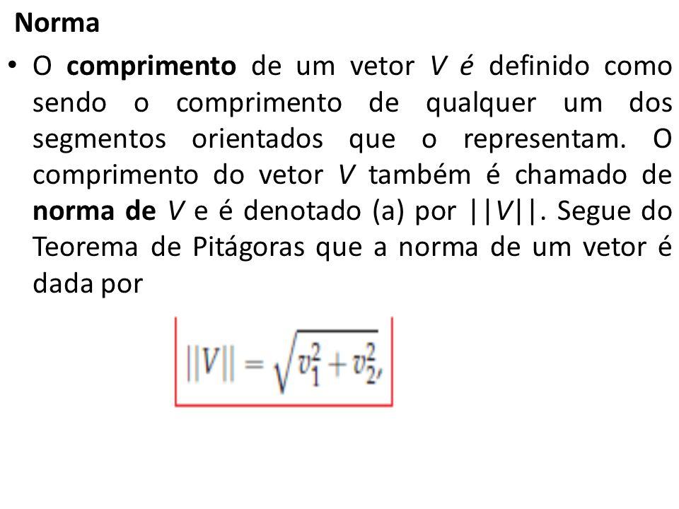 Norma O comprimento de um vetor V é definido como sendo o comprimento de qualquer um dos segmentos orientados que o representam. O comprimento do veto