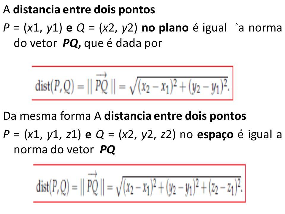 A distancia entre dois pontos P = (x1, y1) e Q = (x2, y2) no plano é igual `a norma do vetor PQ, que é dada por Da mesma forma A distancia entre dois