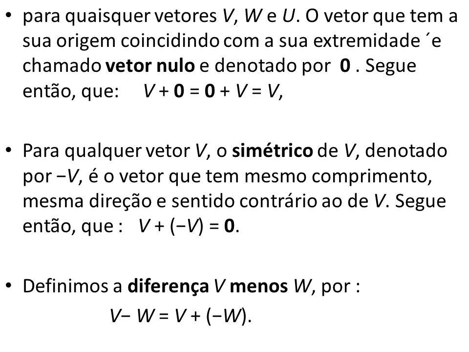 para quaisquer vetores V, W e U. O vetor que tem a sua origem coincidindo com a sua extremidade ´e chamado vetor nulo e denotado por 0. Segue então, q