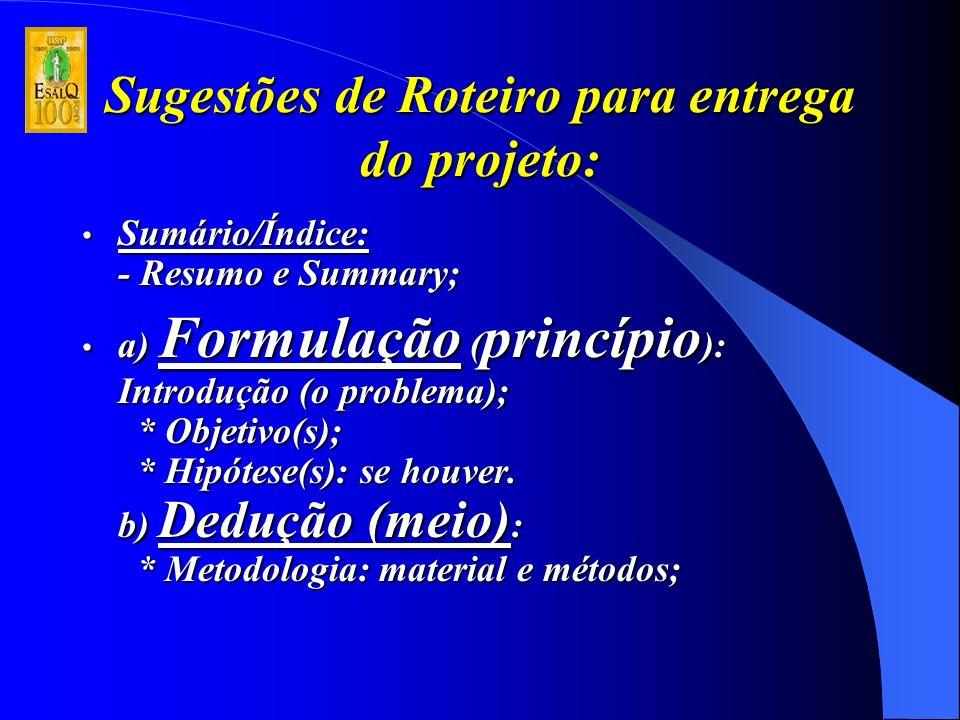 Sugestões de Roteiro para entrega do projeto: Sumário/Índice: - Resumo e Summary; Sumário/Índice: - Resumo e Summary; a) Formulação ( princípio ): Introdução (o problema); * Objetivo(s); * Hipótese(s): se houver.