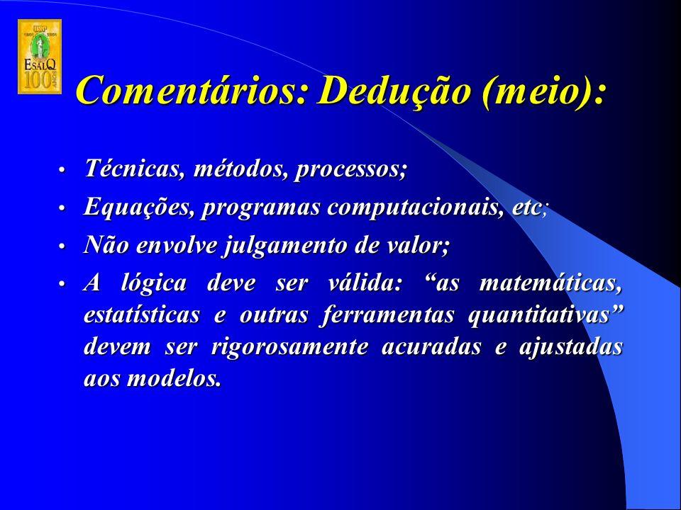 Comentários: Dedução (meio): Técnicas, métodos, processos; Técnicas, métodos, processos; Equações, programas computacionais, etc Equações, programas computacionais, etc; Não envolve julgamento de valor; Não envolve julgamento de valor; A lógica deve ser válida: as matemáticas, estatísticas e outras ferramentas quantitativas devem ser rigorosamente acuradas e ajustadas aos modelos.