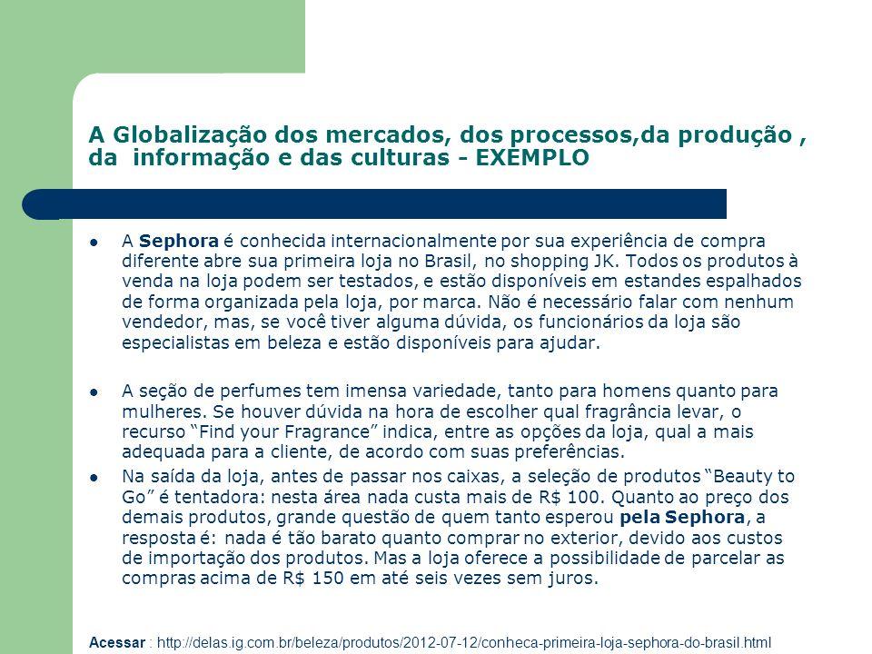 A Globalização dos mercados, dos processos,da produção, da informação e das culturas - EXEMPLO A Sephora é conhecida internacionalmente por sua experi