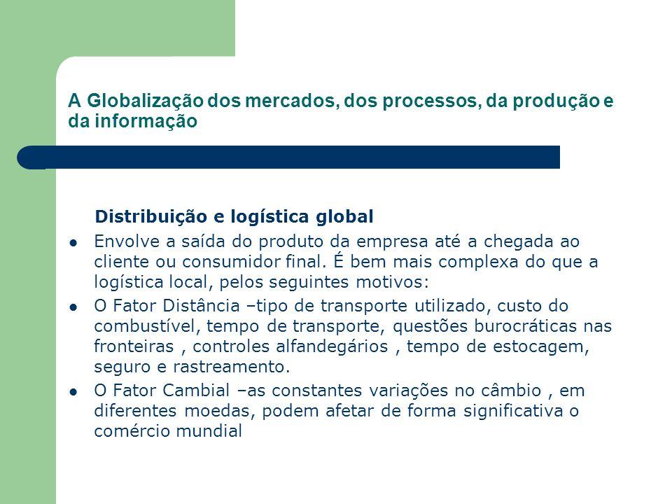 A Globalização dos mercados, dos processos, da produção e da informação Distribuição e logística global Envolve a saída do produto da empresa até a ch