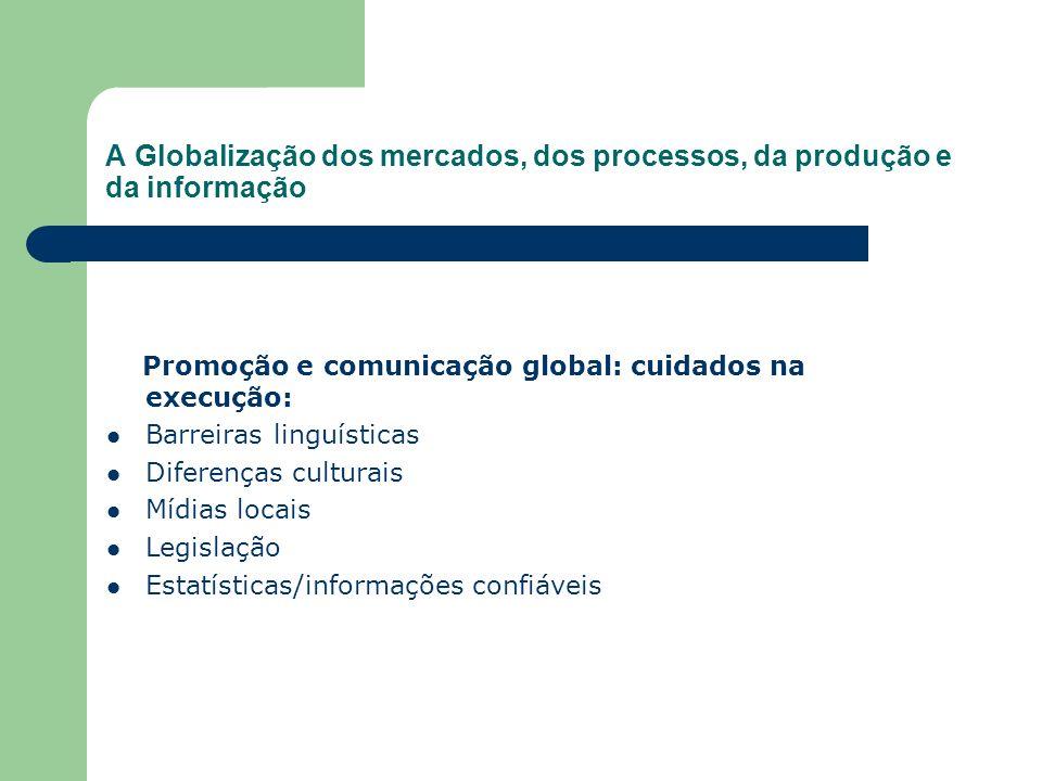 A Globalização dos mercados, dos processos, da produção e da informação Promoção e comunicação global: cuidados na execução: Barreiras linguísticas Di