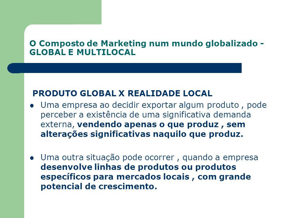 O Composto de Marketing num mundo globalizado - GLOBAL E MULTILOCAL PRODUTO GLOBAL X REALIDADE LOCAL Uma empresa ao decidir exportar algum produto, po