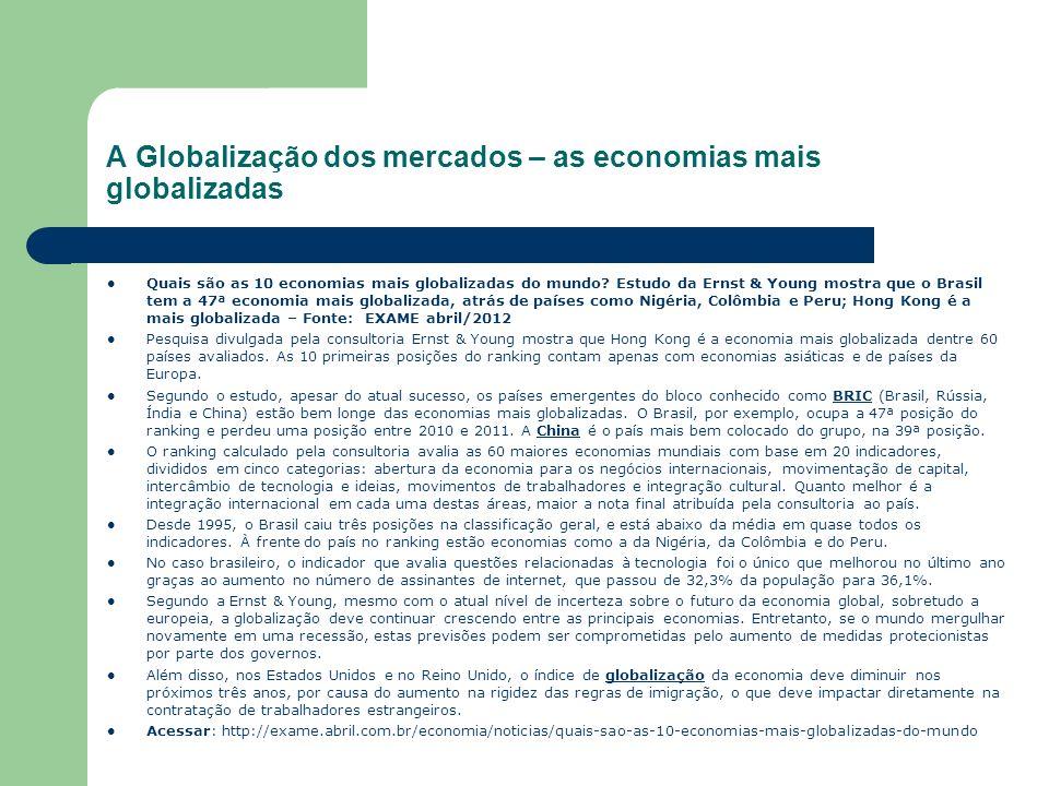 A Globalização dos mercados – as economias mais globalizadas Quais são as 10 economias mais globalizadas do mundo? Estudo da Ernst & Young mostra que