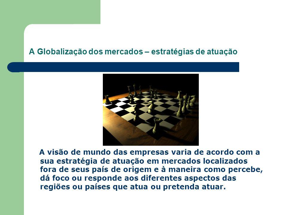 A Globalização dos mercados – estratégias de atuação A visão de mundo das empresas varia de acordo com a sua estratégia de atuação em mercados localiz