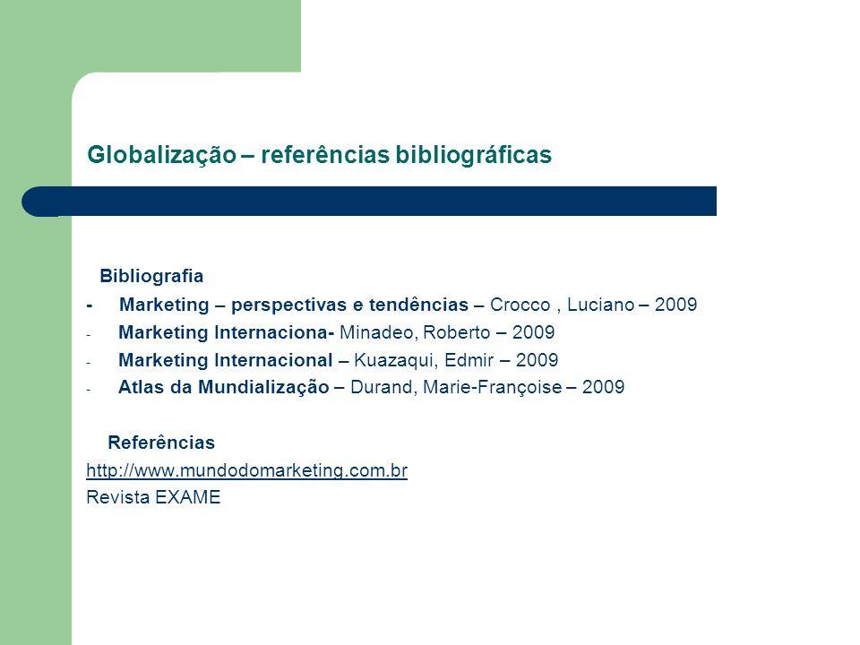 Globalização – referências bibliográficas Bibliografia - Marketing – perspectivas e tendências – Crocco, Luciano – 2009 - Marketing Internaciona- Mina