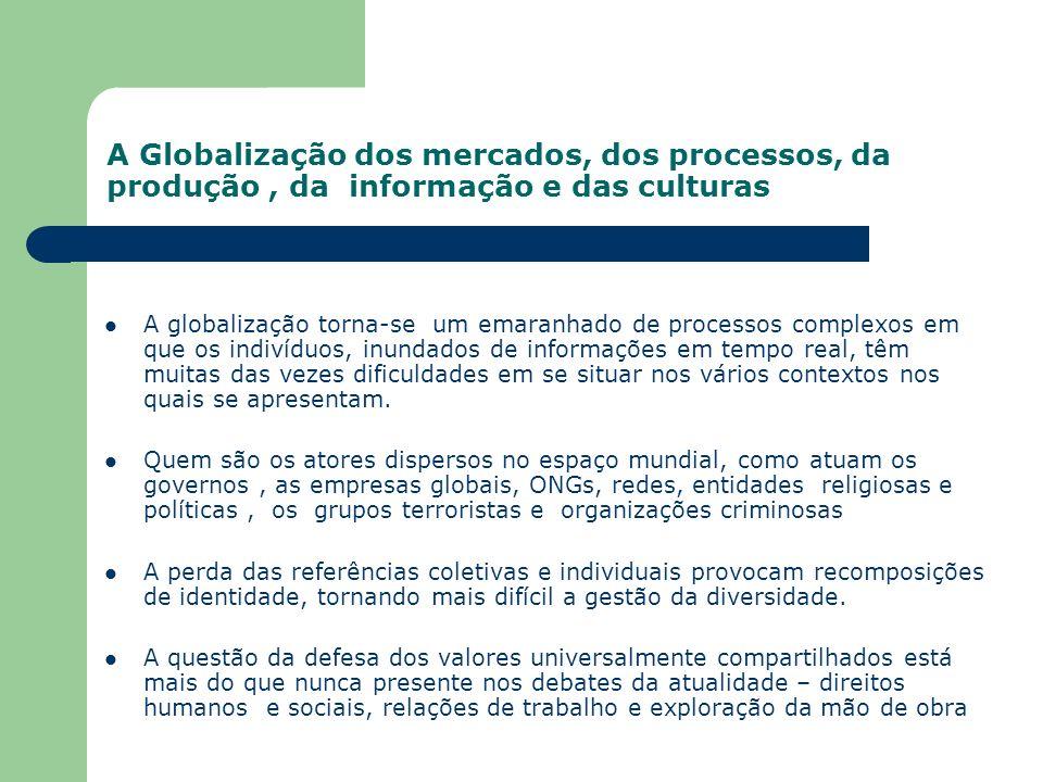 A Globalização dos mercados, dos processos, da produção, da informação e das culturas A globalização torna-se um emaranhado de processos complexos em