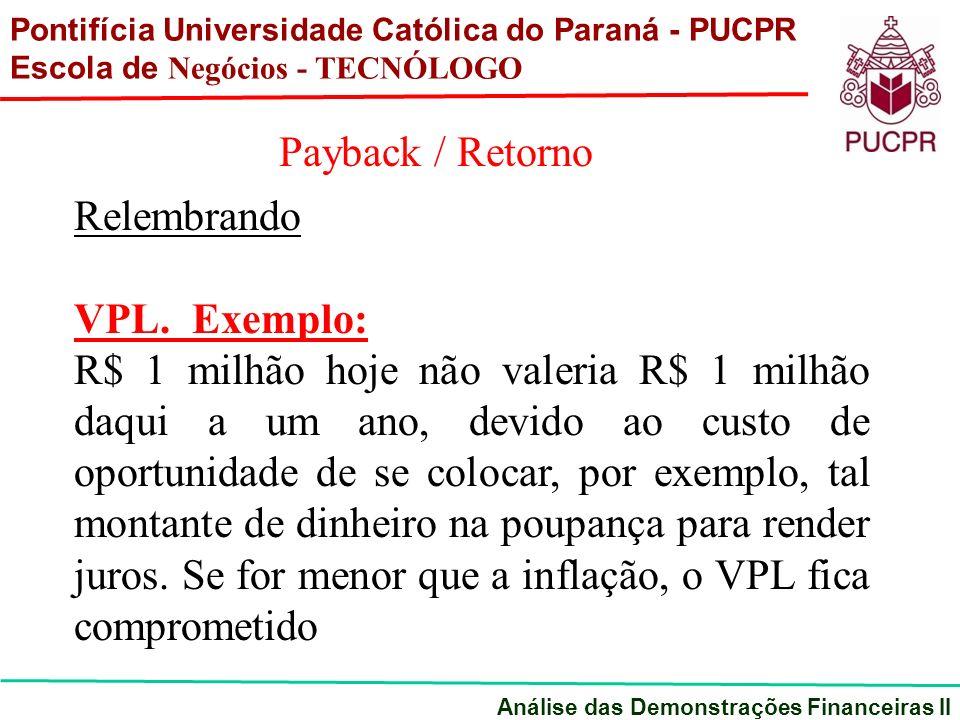 Pontifícia Universidade Católica do Paraná - PUCPR Escola de Negócios - TECNÓLOGO Análise das Demonstrações Financeiras II Payback / Retorno Qualquer projeto de investimento possui de inicio um período de despesas (em investimento)a que se segue um período de receitas liquidas(liquidas dos custos do exercício).