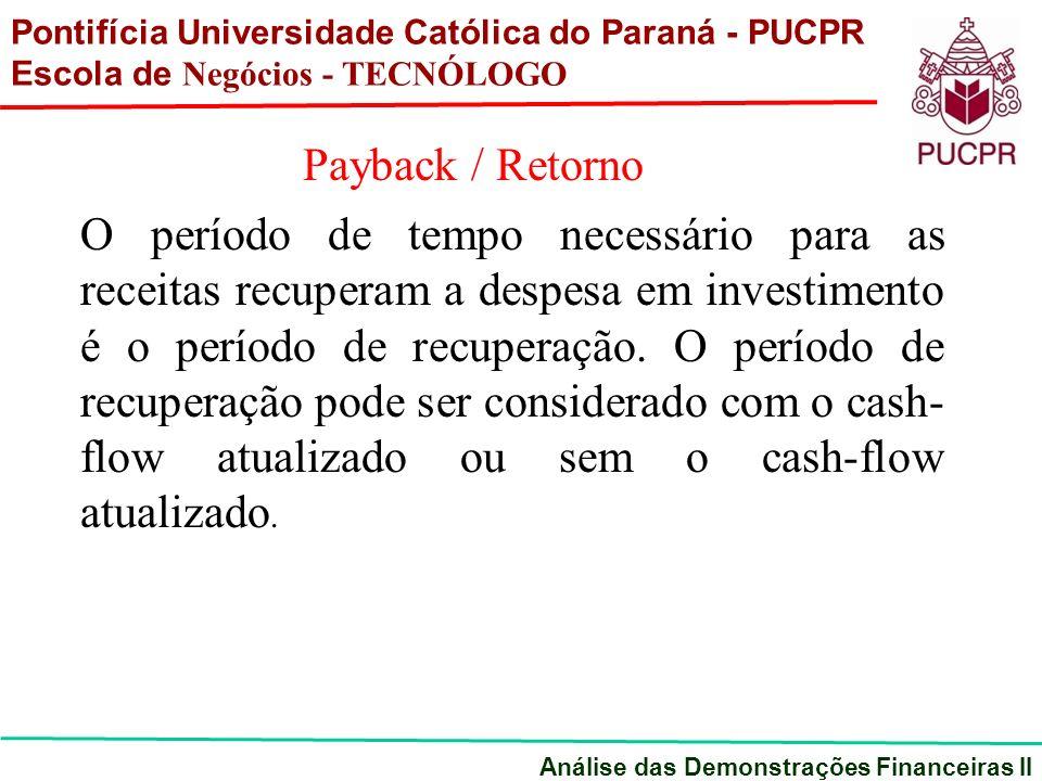 Pontifícia Universidade Católica do Paraná - PUCPR Escola de Negócios - TECNÓLOGO Análise das Demonstrações Financeiras II Payback / Retorno O período de tempo necessário para as receitas recuperam a despesa em investimento é o período de recuperação.