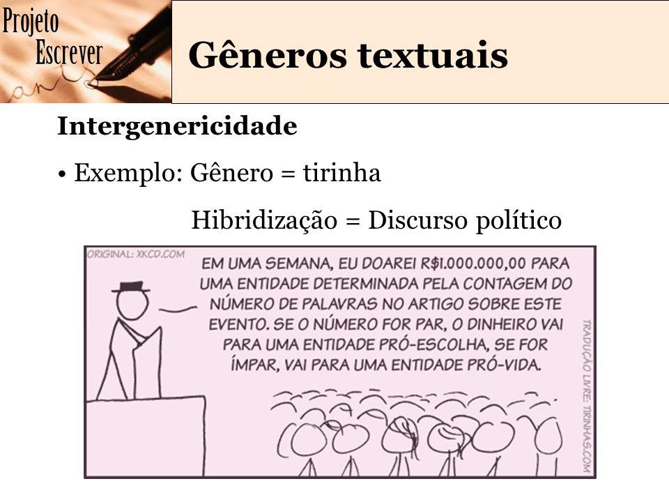 Gêneros textuais Intergenericidade Exemplo: Gênero = tirinha Hibridização = Discurso político