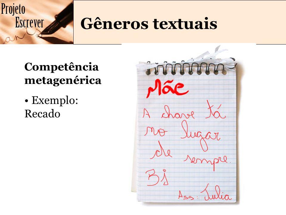 Gêneros textuais Competência metagenérica Exemplo: Recado