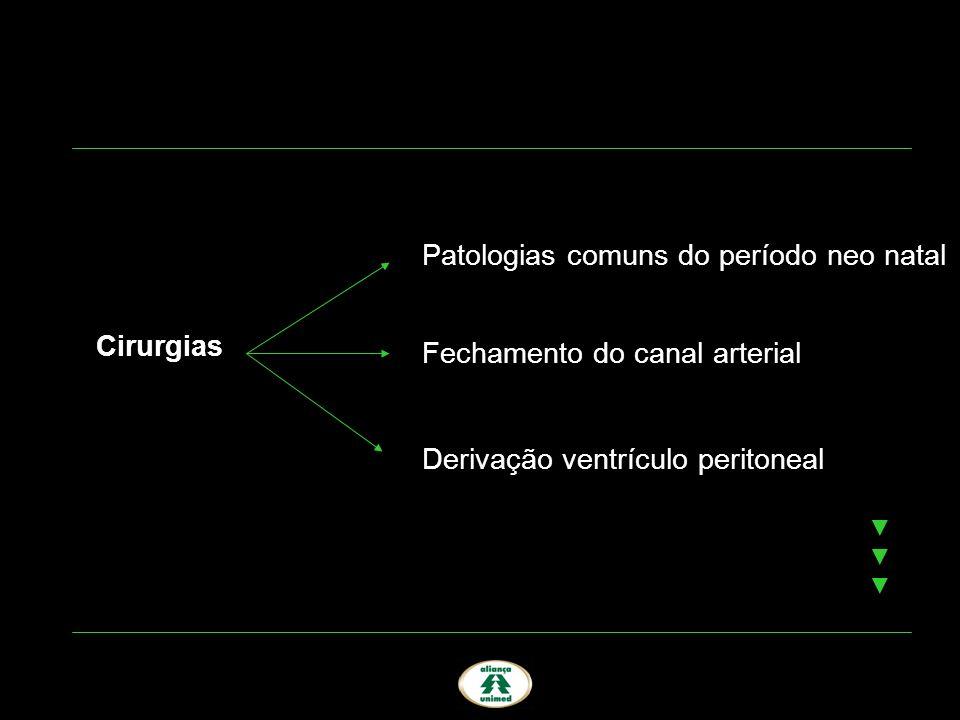 Cirurgias Patologias comuns do período neo natal Fechamento do canal arterial Derivação ventrículo peritoneal