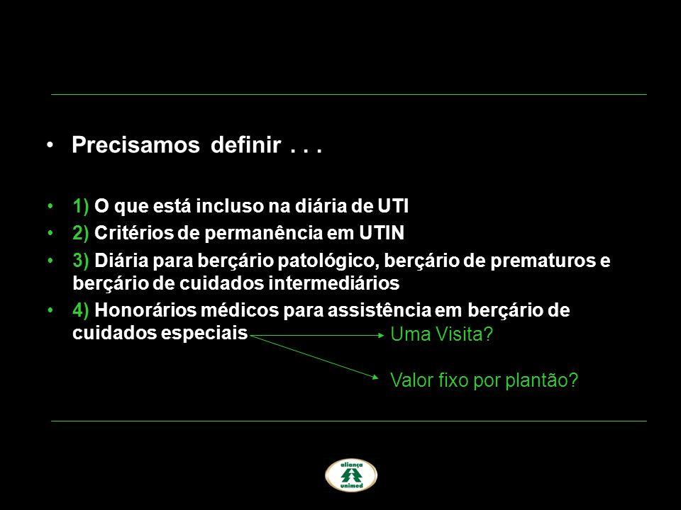 1) O que está incluso na diária de UTI 2) Critérios de permanência em UTIN 3) Diária para berçário patológico, berçário de prematuros e berçário de cu