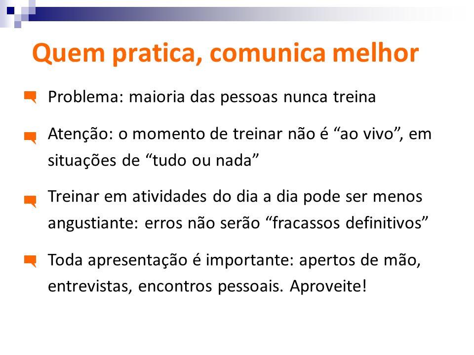 Quem pratica, comunica melhor Problema: maioria das pessoas nunca treina Atenção: o momento de treinar não é ao vivo, em situações de tudo ou nada Tre