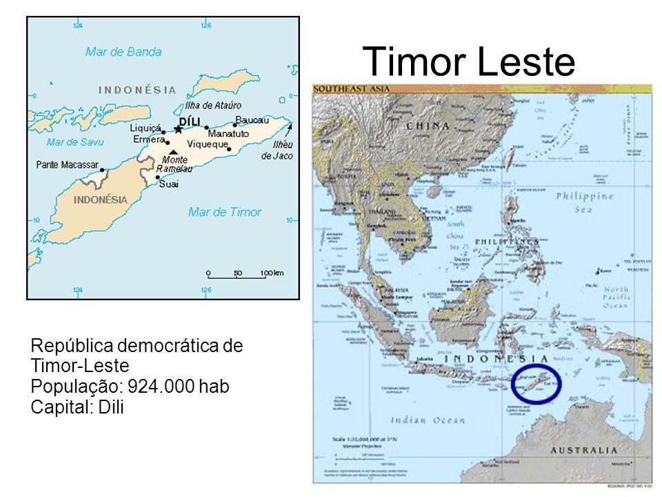 Timor Leste República democrática de Timor-Leste População: 924.000 hab Capital: Dili