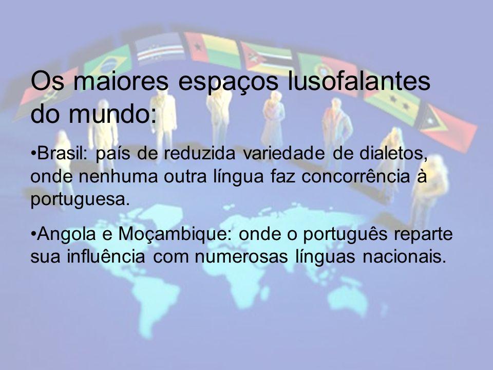 Os maiores espaços lusofalantes do mundo: Brasil: país de reduzida variedade de dialetos, onde nenhuma outra língua faz concorrência à portuguesa.